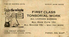 Fargo House Hotel business card.