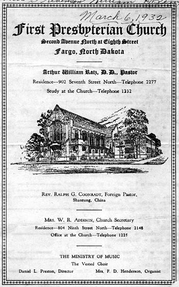 First Presbyterian Church bulletin.