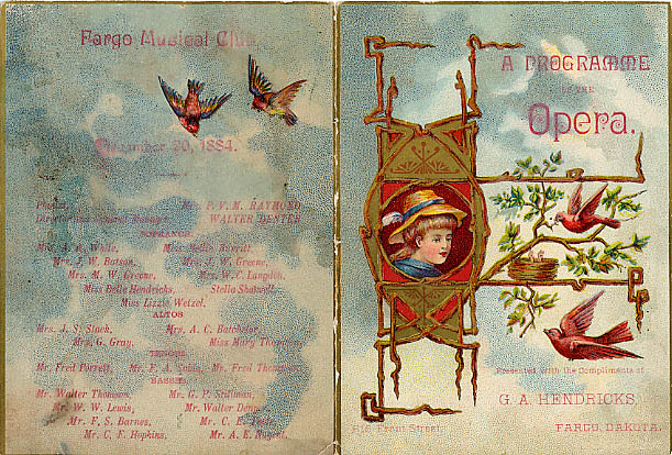Music club program from 1884.