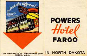 Powers Hotel matchbook.
