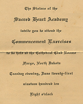 Sacred Heart Academy commencement invitation.