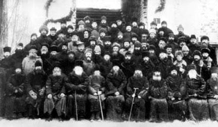 En gruppe russiske prester før henrettelsen på Solovki