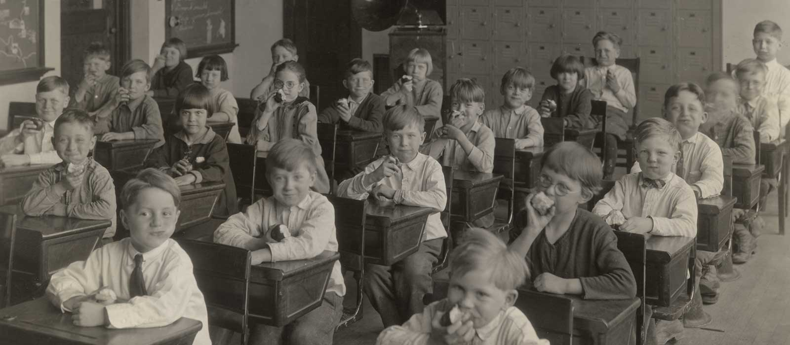 Students in Class Eating Apples - Fall