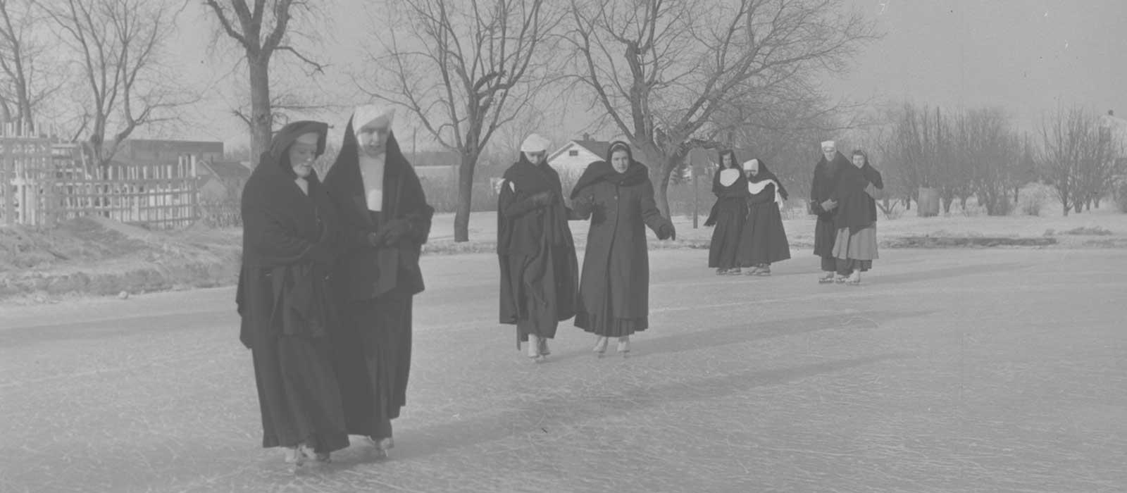 Nuns Ice Skating - Winter