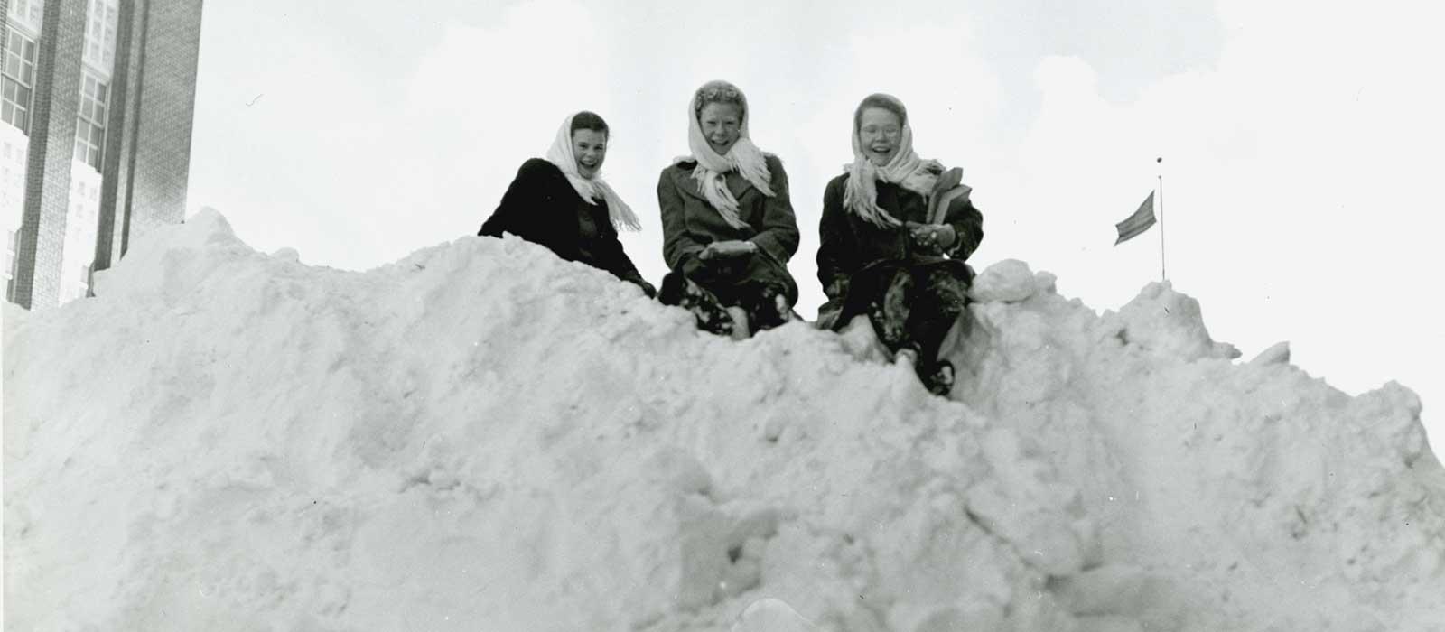 Girls on Snow Bank - Winter